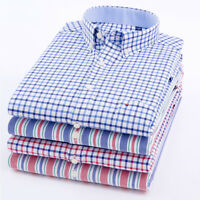 New Mens Shirts Long Sleeve Casual Smart Formal Classic Slim Check XT436