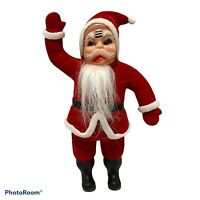 """Vintage Red Flocked Santa Claus Figurine Plastic Face and Body 9.5"""""""