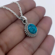 Small Sterling Silver 925 Turquoise Gemstone Pendant Necklace Jewellery