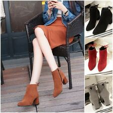 Women Martin Boots Block Heel Side Zipper Shoes Ankle Lace-up Boot's Plus Size