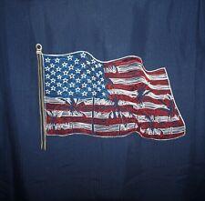 Roundtree Yorke Caribbean Shirt USA FLAG Back Embroidery Large Navy NWT (RYC284)