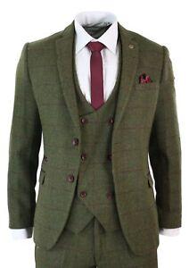 Men's Classic Tweed Herringbone Check Tan Dark Green Striped Vintage Suit Custom