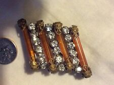 Pin Amber Rhinestones Brass Gorgeous Antique Edwardian Victorian Art Deco