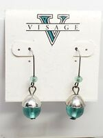 Visage Vintage Earrings Dangling Drop Green Glass Ball Fish Hook New Old Stock