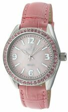 Peugeot Womens 3006pk Swarovski Crystals Accent Pink Leather Stap Watch