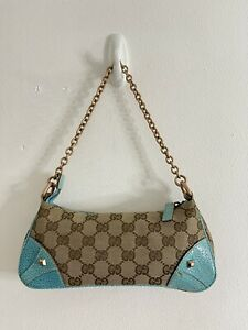 Authentic GUCCI Turquoise Leather GG Monogram Small Pochette Chain Shoulder Bag