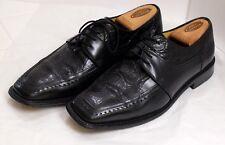 VGUC+ Mezlan Mugello Men's Size 9M Black Leather & Crocodile Apron Toe Oxfords