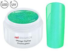 UV LED Effekt Gel FLIP FLOP CHROME GREEN Farb Color Feiner Glitzer Glitter Grün