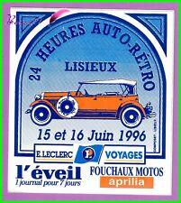 Ancien Autocollant Sympa 24 Heures Auto-rétro Lisieux 1996 voiture ancienne