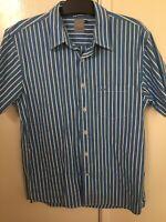 Driza-Bone Mens Short Sleeve Button Up Shirt Size Large Superfine Yarn Cotton