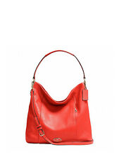 NWT Coach Pebbled Leather Shoulder Handbag in Cardinal F 34511 $395