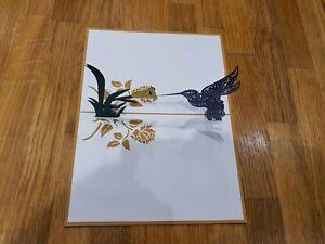 3d Popup Hemming Bird With Flower Card