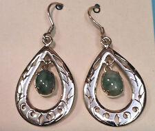 Beautiful Sterling Silver Natural Jade Nepalese Tibetan earring