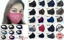 Cloth Face Mask Triple Layer Cotton w/ Filter Pocket & Nose Wire Handmade Unisex