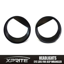 Xprite Front Headlight Black Bezels Angry Bird Style 07-18 Jeep Wrangler JK