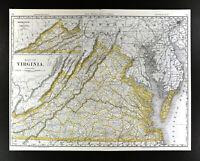 "1892 Rand McNally Railroad Map Virginia Richmond Washington Alexandria 21x27"" RR"
