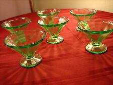 Depression Glass Green Custard / Sherbet Cups Set of TWO
