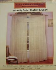 "DREAMHOME BUTTERFLY ROD POCKET EMBROIDERY CURTAIN WHITE SHEER ONE PANEL 55""x84"""