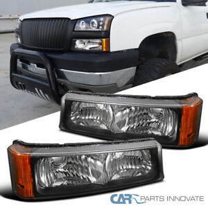 For Chevy 03-07 Silverado Avalanche Pickup Black Bumper Lights Turn Signal Lamps