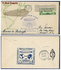 USA 1933 ZEPPELIN CENTURY OF PROGRESS MIAMI-RALEIGHT DISPATCH COVER - VERY RARE