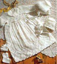 Baby 2ply Christening  Dress Shawl Bonnets Bootees ~  Knitting Pattern