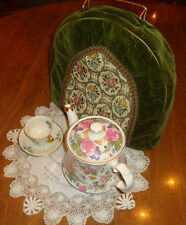 TEA COZY~QUILTED VELVET-TAPESTRY & METAL LACE-FINE QUALITY PLUSH