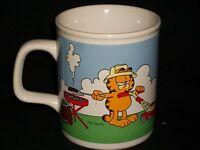 Garfield Father's Day Big Deal Enesco 1978 Licensed Coffee Mug Mowing Lawn BBQ