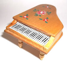 HANDCRAFTED WOOD DOLL HOUSE HAND PAINTED PIANO -LIGHT OAK FINISH,music room