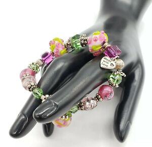 Rose Floral Crystal Sterling Silver Art Glass Lampwork Bracelet Artisan Pink 925