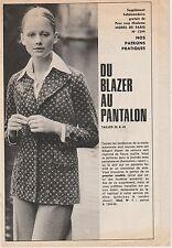 Patron MODES DE PARIS N°1344 blazer et pantalon vintage 1974