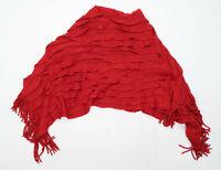 Preworn Womens One Size Striped Red Poncho (Regular)