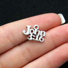 10 Bible Charms Antique Silver Tone John 3:16 Verse - SC2484