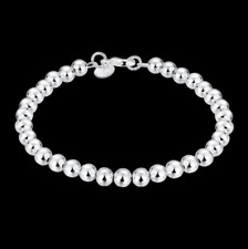 Mens Womens 925 Sterling Silver 6mm Beads Ball Link Chain Bracelet #BR439
