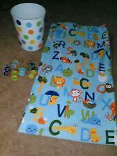 Kid's Circo Brand Abc Animals Fabric Shower Curtain,Alphabet Hooks & Wastebasket