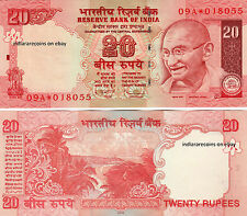 India 20 Rs 2009 No Inset Star Replacement Paper Money Bank Note Unc New Rare
