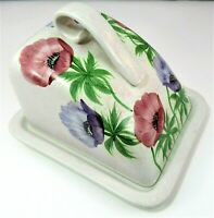 Vintage EDWARD RADFORD England Cheese Butter Dish Hand Painted Anemone *RARE*