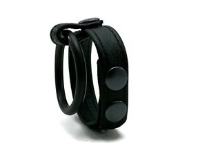 Adjustable Leather Cockring w/ Rubber Ring CBT Penis Harness CBT