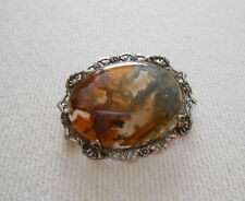 Vintage Sterling Silver OSTBY & BARTON Agate Brooch    165.005