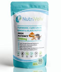Turmeric Curcumin Ginger Black Pepper 1700mg Organic High Strength 90 Capsules