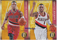 (2) 2015-16 GOLD STANDARD BASE #105: DAMIAN LILLARD #/299 RED/WHITE JERSEY LOT