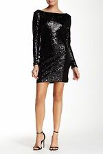 DRESS THE POPULATION KELLY BACKLESS SEQUIN BLACK BODY-CON MINI DRESS sz XS