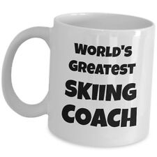Worlds Greatest Skiing Coach Coffee Mug Gift Cup For Mentor Trainer Instructor