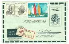 POLAND Polska air postal stationery registered uprated cover 1963 Gdyna >Germany