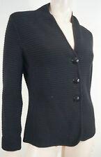 ARMANI COLLEZIONI Black Chunky Rib V Neck Long Sleeve Cardigan Jacket IT42 UK10