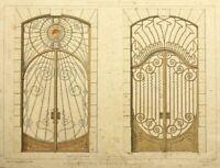 "B.HUMBERT(19.Jh) ""Ferronnerie Moderne"" Kunstschmiedearbeiten, Tafel 2, Kol.Lith"