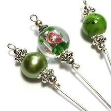 3 X Green Glass Hat Pins Silver Vintage Style - Strong Pins & Protectors