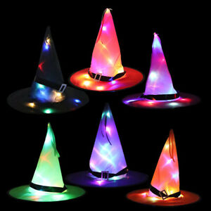 Children KIds Halloween Party LED Light Witch Hat  Tree Hanging Ornament Decor