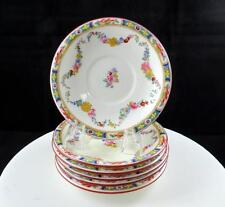 """MINTON ENGLAND 6 PC MINTON ROSE SAUCERS 5 3/8"""" FOR FOOTED CUP 1912-1950"""