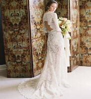 Vintage Lace Long Sleeve Wedding Dresses Backless Boho Beach Muslim Bridal Gown