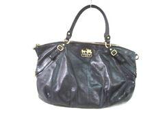 Auth COACH Madison Leather Large Sophia Satchel 15955 Black Leather Handbag
